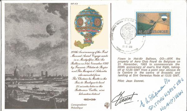 Wg Cdr E A Shipman AFC 41 Sqn Battle of Britain WW2 fighter ace signed First Flight balloon cover