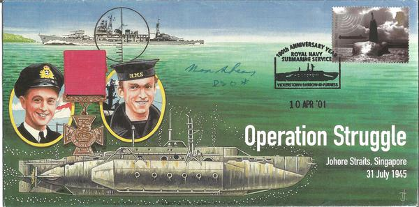 Lt Max Shean DSO WW2 signed Operation Struggle Navy cover. Midget Sub commander X24 HMS Expetitious, attacked the Tirpitz