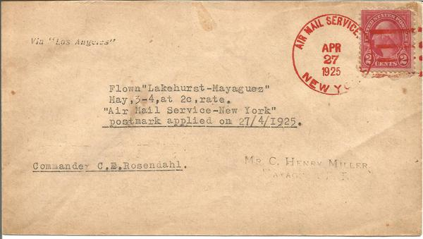 1925 Airship Los Angeles flown cover