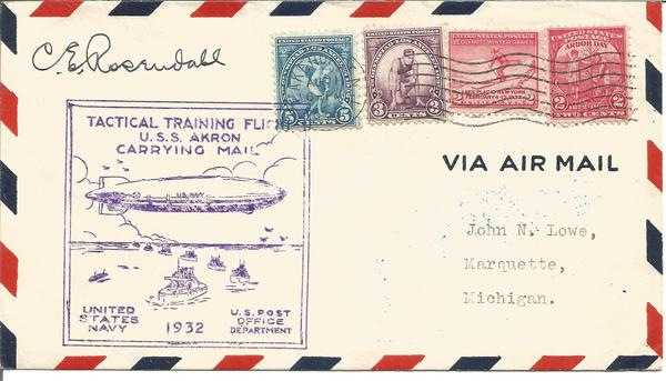 1932 Admiral Rosendahl signed USS Akron Tactical Training flight 1/8/1932.