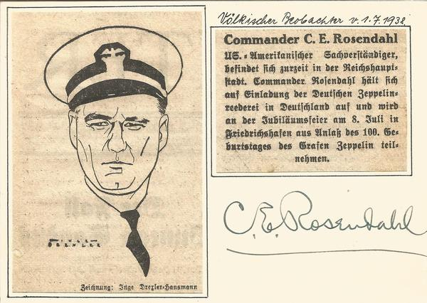 Admiral Rosendahl signed 6 x 4 home made card with Germany writing produced in 1938 to celebrate the Birthday of Count von Zeppelin.
