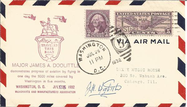 Gen J Doolittle signed 1932 US Air Mail cover comm/ George Washington Bicentennial.