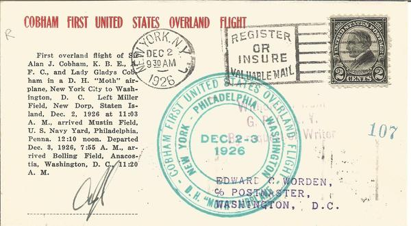 Alan Cobham aviation pioneer signed 1926 cover flown on 1st US Overland Flight 2/12/1926.