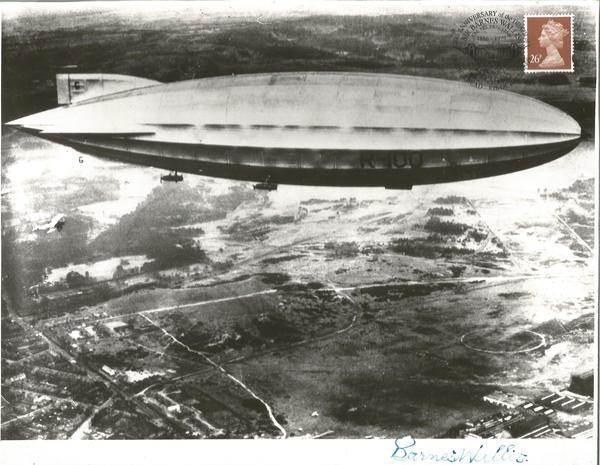 Sir Barnes Wallis signed 10 x 8 b/w photo of R100 Airship fixed to card.
