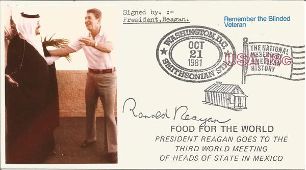 President Ronald Reagan signed 1981 US postcard with Food for the World
