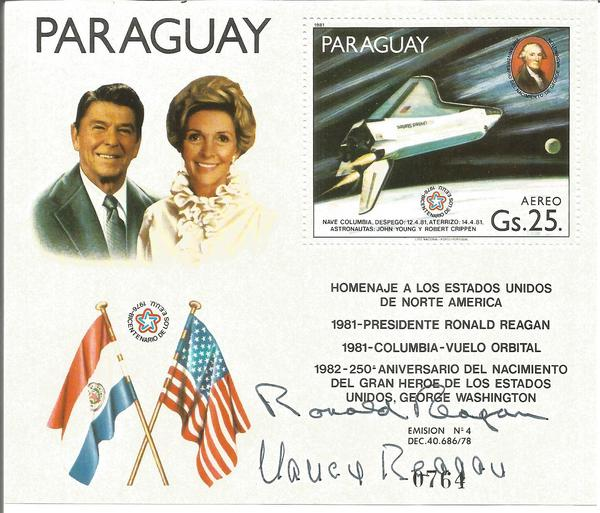 President Ronald Reagan signed 1981 US postcard with Food for the WorldPresident Ronald Reagan and Nancy signed Paraguay stamp sheet.