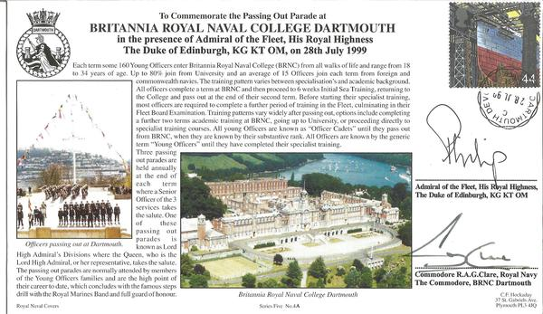 HRH Prince Phillip signed 199 Royal Navy official cover comm. The passing out parade and Dartmouth RN College.