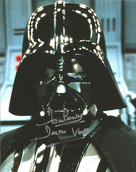 Star Wars Dave Prowse signed Darth Vadar colour close up helmet photo
