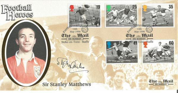 Sir Stanley Matthews signed 1996 Benham Football Legends official FDC