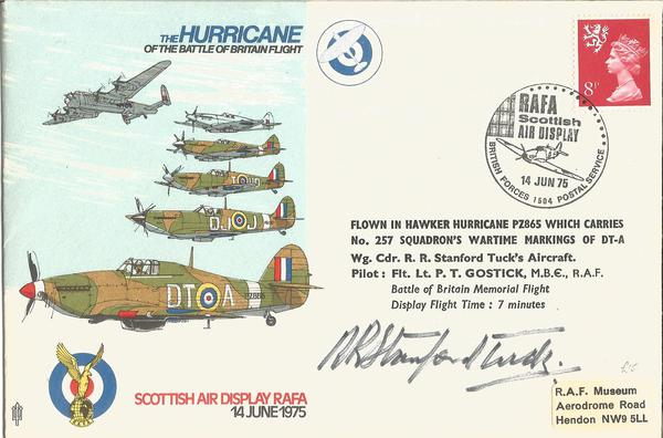 Wg Cdr Robert Stanford Tuck DSO DFC AFC signed RAF Hurricane cover