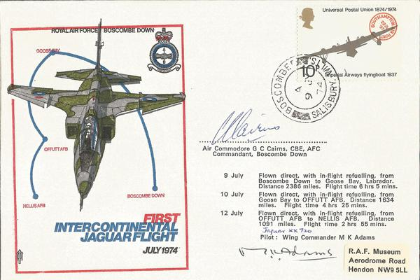 Air Cdre Cairns AFC signed rare 1st Intercontinental Jaguar flight cover 1974, only 295 were produced