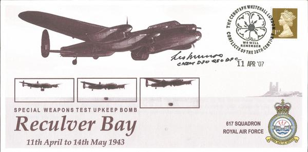 Les Munro DFC WW2 Dambuster veteran signed 2007 Reculver Bay Bouncing bomb test cover.