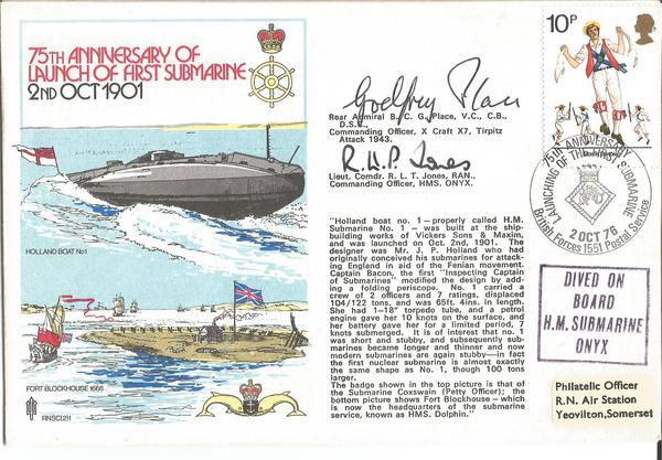 Admiral Godfrey Place VC Lt Cdr Jones signed Navy official Submarine 75th ann cover