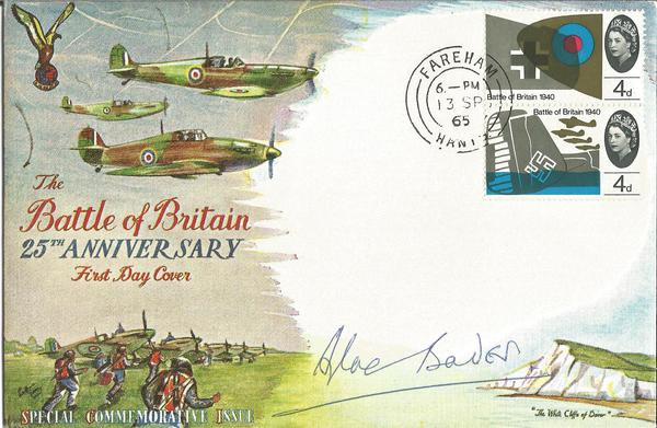 Grp Capt Sir Douglas Bader DSO DFC signed 1965 Battle of Britain FDC.