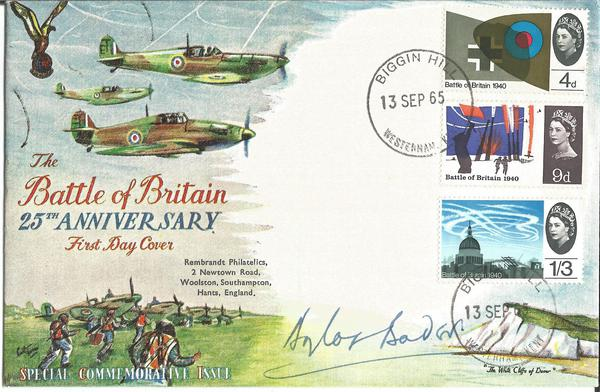 Grp Capt Sir Douglas Bader DSO DFC signed 1968 50th ann Royal Air Force cover