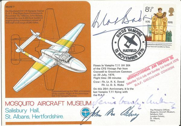 Grp Capt Sir Douglas Bader DSO DFC signed Mosquito Museum cover also signed by Air Marshall Denis Crowley Milling