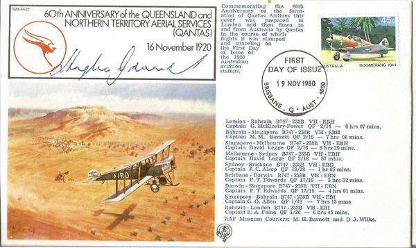 Hughie Edwards VC WW2 signed First Flight QANTUS Australian RAF WW2 cover.