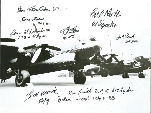 World War Two 6x8 b/w photo signed by 9 bomber command veterans