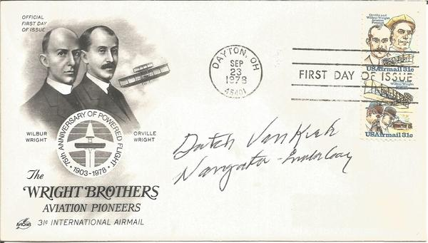 Theodore Dutch Van Kirk signed 1978 US Wright Brothers FDC.