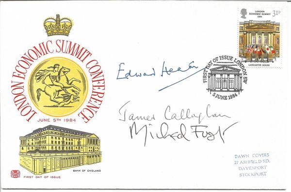 Edward Heath, James Callaghan, Michael Foot signed 1984 Economic Summit FDC