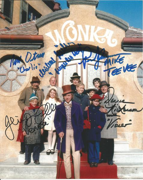 Willy Wonka Charlie and the Chocolate Factory colour 10x 8 photo signed by all five kids including their cast names