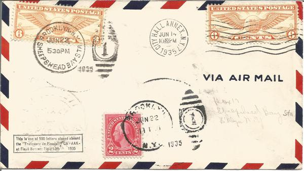 1935 New York to Rome rare flown cover aborted Atlantic Crossing cover.