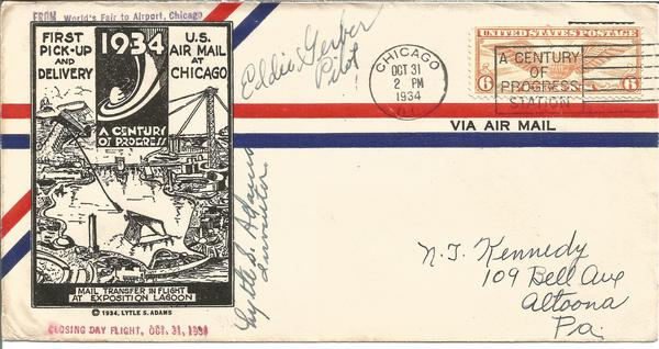 Dr Lytle Adams Eddie Gerber aviation pioneers signed 1934 1st Pick up and Delivery Us Air Mail cover.