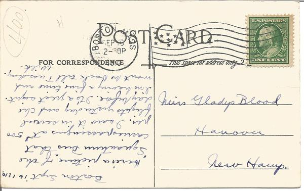 1910 G White taking Mr MacDonald for a flight vintage postcard, Historical interest in senders note reporting on flights on 14/15 sept.
