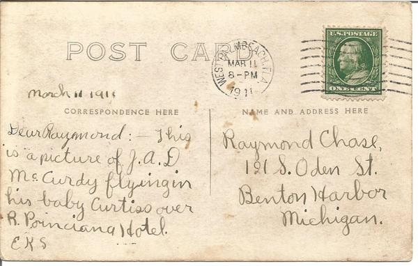 1912 Brooking over Chicago Aeroplance vintage postcard with note on reverse, 2 cent stamp and Chicago postmark.