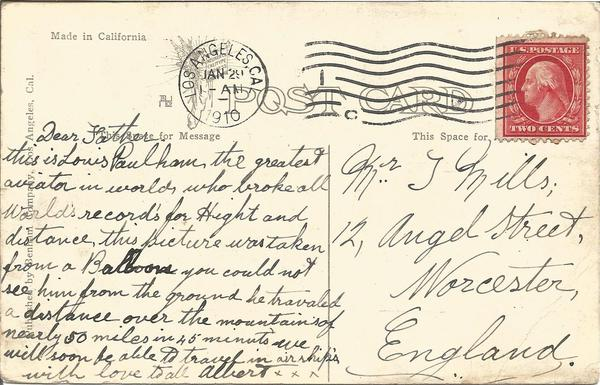 1910 Paulhan Record Breaking flight vintage postcard with historically significant handwritten note to back to Worcester UK.
