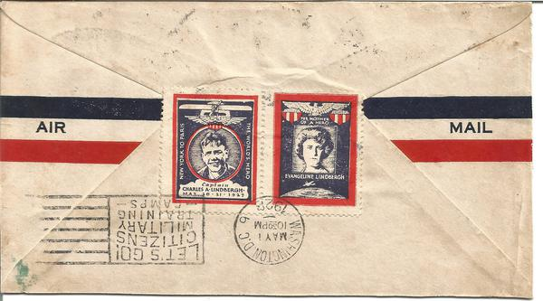 Charles and Evangeline Lindbergh commemorative vignette stamps on envelope from with Washington DC slogan postmark