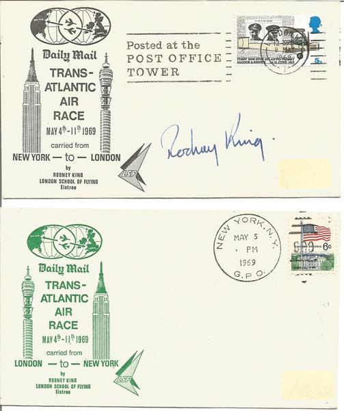 1969 Pair of Transatlantic Air Race cover New York London signed Rodney King with London postmark.