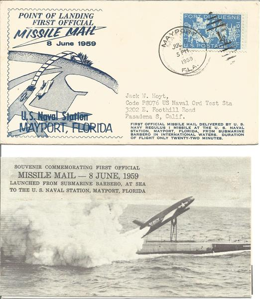 1959 US Missile Mail Mayport point of landing first Missile Mail FDC