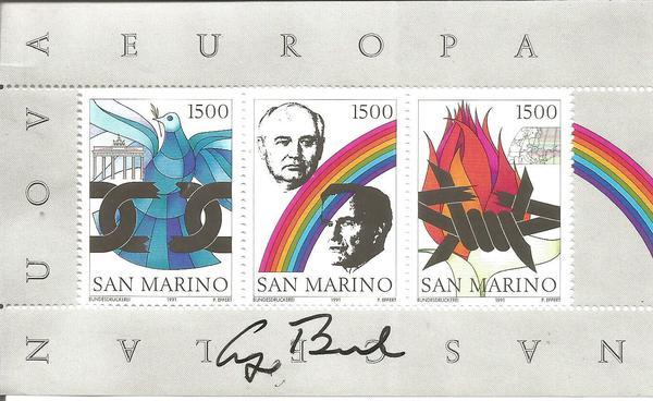 US President George Bush signed San Marino Mikhail Gorbachev summit stamp sheet