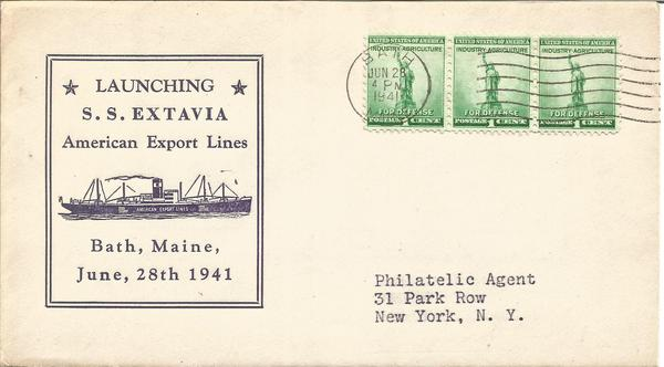 1941 Ship Launch SS Extavia American Export Lines Maine US FDC