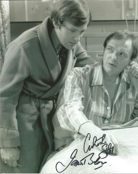James Bolam and Christopher Strauli Only When I Laugh Signed 10x8 b/w  photo