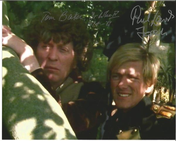 Dr Who Tom Baker Peter Lavers signed 10 x 8 colour photo