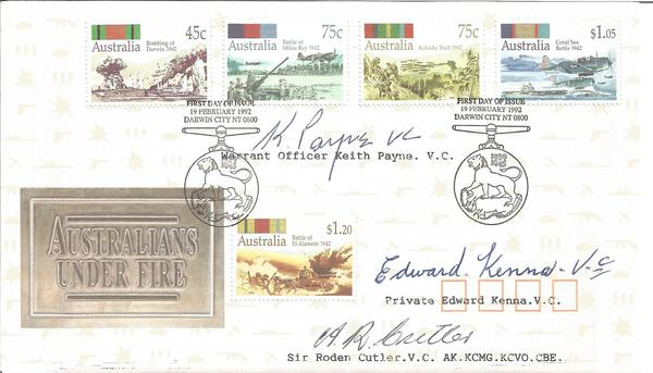 Aussie Victoria Cross winners K Payne, E Kenna, R Cutler VC signed cover