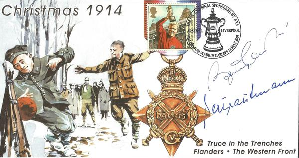 Bert Trautmann and Bobby Charlton signed 2001 Truce in Trenches cover