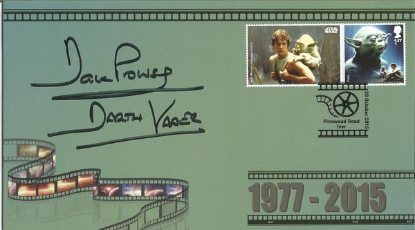 Star Wars 2015 First Day Cover signed by the original Darth Vadar Dave Prowse with Yoda Stamps