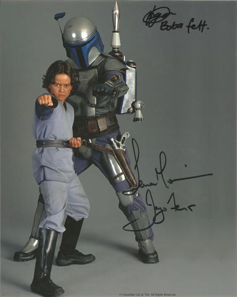 "Temuera Morrison and Daniel Logan signed Star Wars 10"" x 8"" colour photo Boba and Jango Fett"