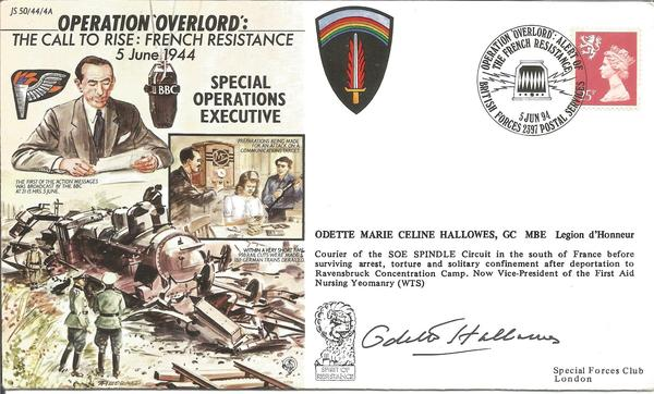 Odette Hallowes signed Operation Overlord cover JS 50/44/4A.