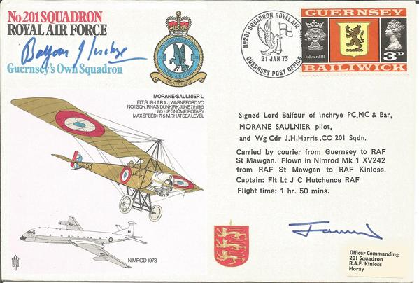 Lord Balfour of Inchrye Great War Fighter Ace and Wg Cdr J H Harris signed No 201 Squadron of the Royal Air Force cover.