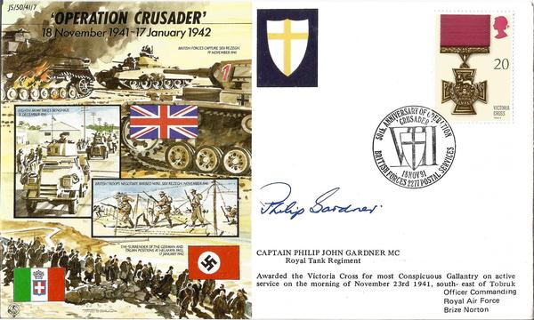 Capt Phillip Gardner VC signed JS50 series 50th ann WW2 cover Operation Crusader.