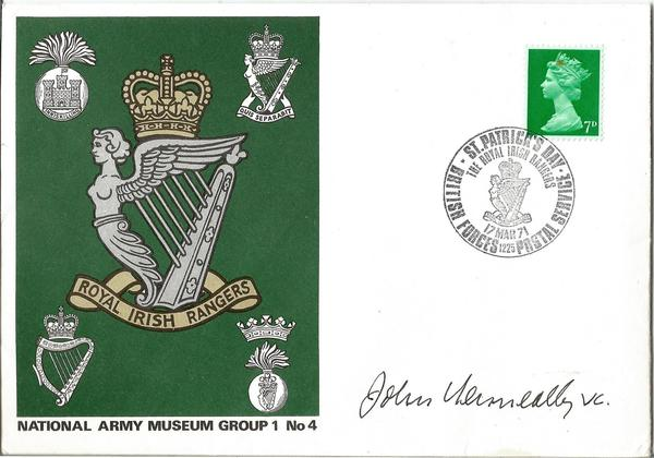 John Kenneally VC WW2 signed National Army Museum cover 1971.