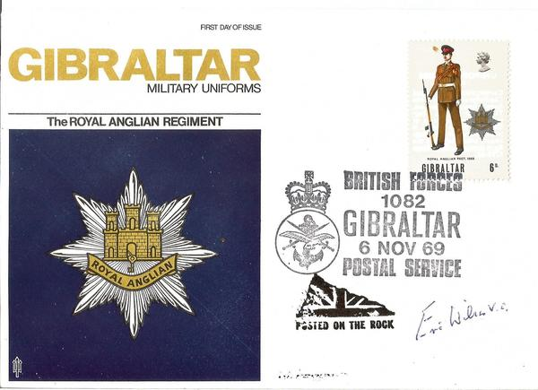 Eric Wilson VC WW2 signed 1969 Gibraltar Military Uniforms cover.