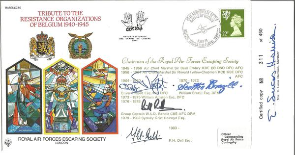 Oliver Philpot, William Brazill and Bill Randle signed Tribute to the Resistance Organizations of Belgium 1940-1945 FDC